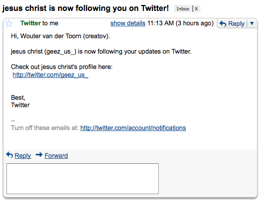 Jesus Christ is following you in Twitter