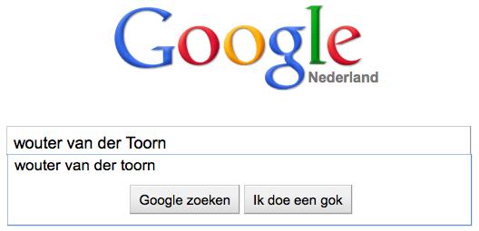 Google zoekopdracht Wouter van der Toorn