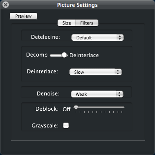 Handbrake - picture settings