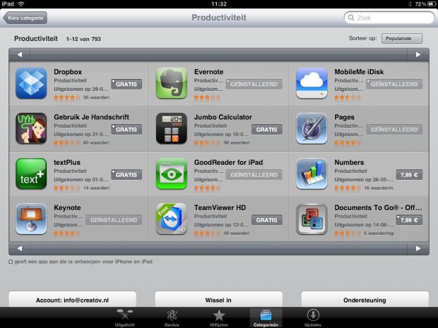Productiviteit apps iPad