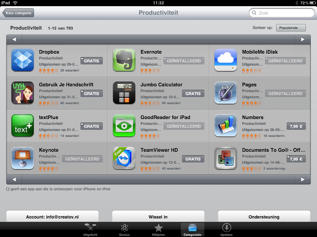 Productiviteit apps iPad