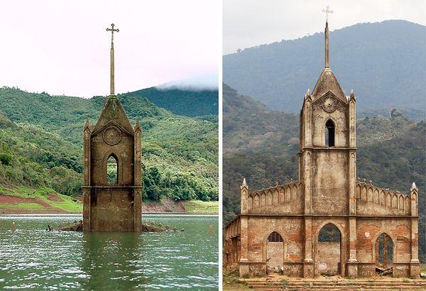 Verdronken kerk komt weer tevoorschijn