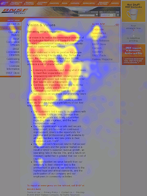 eyetracking heatmap van een artikel pagina