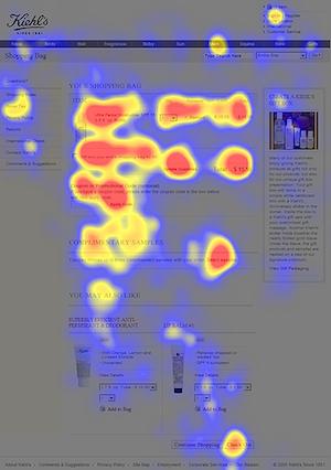 eyetracking heatmap van een gevarieerde pagina