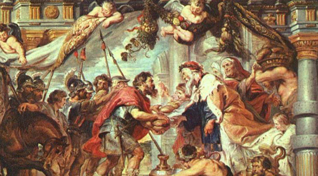 De ontmoeting van Abraham en Melchizedek-rubens