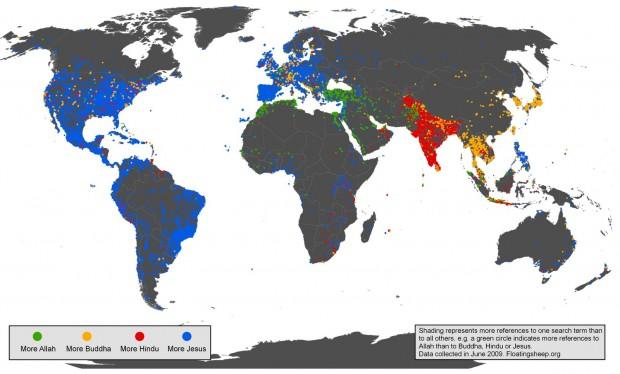 infographic religie in cyberspace wereldwijd