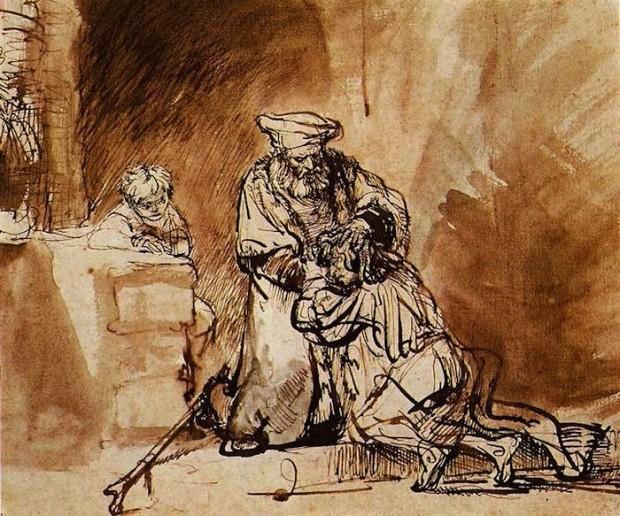 """"""" De terugkeer van de verloren zoon """" (1642) van Rembrandt Harmensz. van Rijn."""