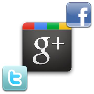 Facebook Twitter in Google Plus