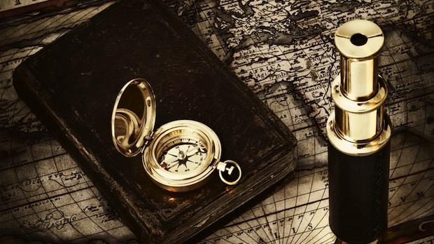 oude kaart met kompas