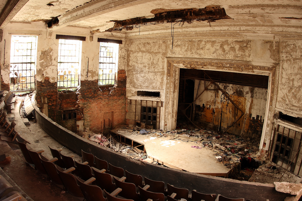 Auditorium. Abandoned City Methodist Church. Gary, Indiana