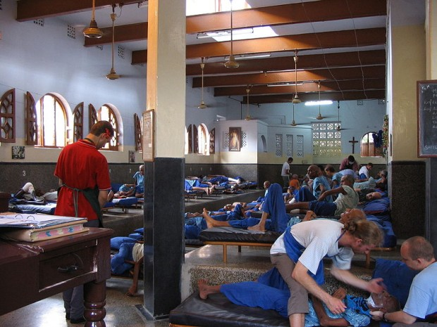 Men's ward at Mother Teresa's Home - Nirmal Hriday,(Home for the Dying), Kalighat/ Kolkata, INDIA