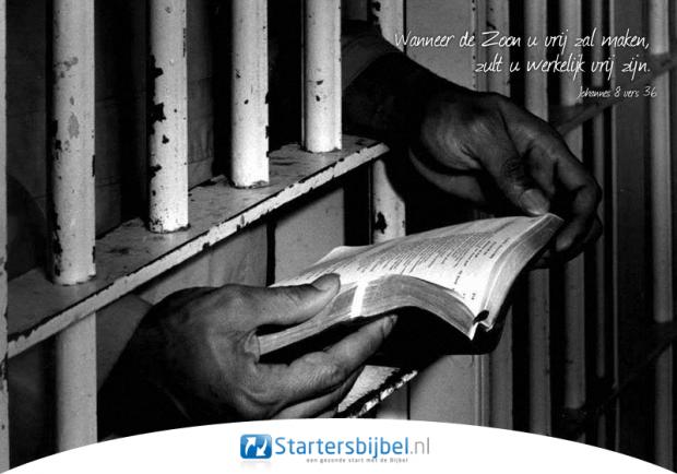 """""""Wanneer de Zoon u vrij zal maken, zult u werkelijk vrij zijn."""" Johannes 8 vers 36."""