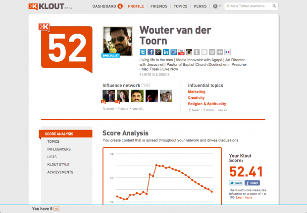 dashboard klout.com