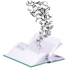 Letterwolk uit boek