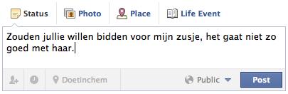 gebedsverzoek via Facebook