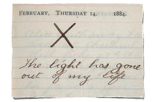 teddy roosevelt dagboek aantekening over overlijden van zijn vrouw