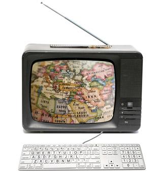 bereik de wereld (oude TV met toetsenbord)