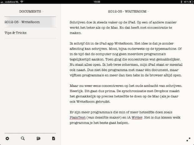WriteRoom voor iPad