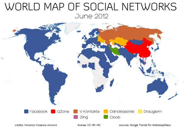 World Map of Social Networks 06/2012