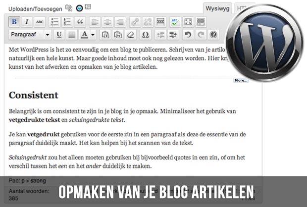 Opmaken van je blog artikelen