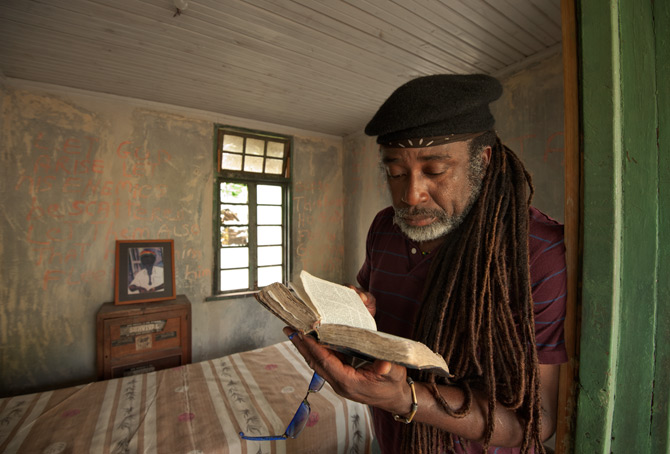 Reading King James Bible in Jamaica