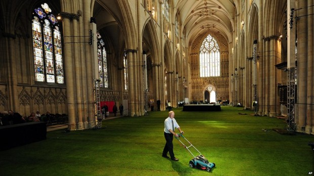 It's York Minster cathedral with a lawn of real grass!