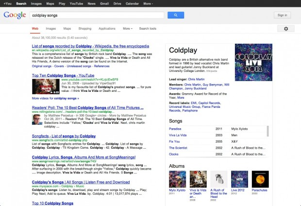 "Google ""coldplay songs"""