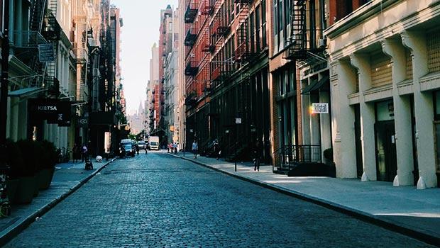 straat grote stad
