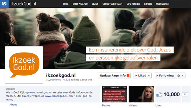 10000 likes IkzoekGod.nl