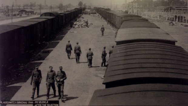 Auschwitz, foto van wat overbleef na selectie van gevangenen