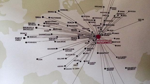 Auschwitz, vanuit heel Europa werden (met name) Joden aangevoerd