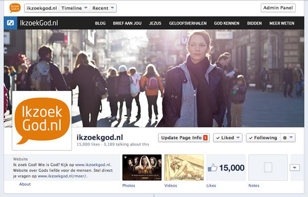 ikzoekgod.nl 15000 fans op Facebook