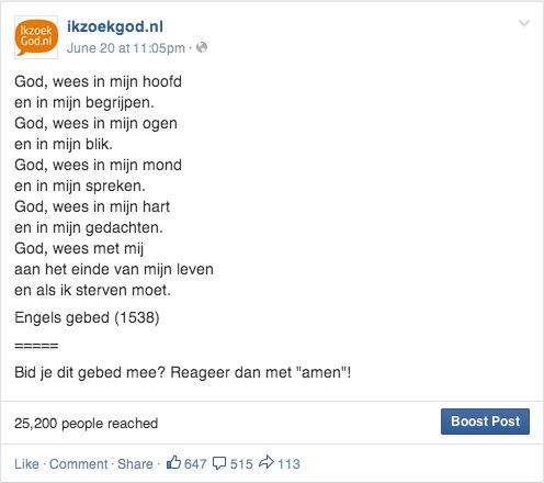 ikzoekgod.nl gebed facebook