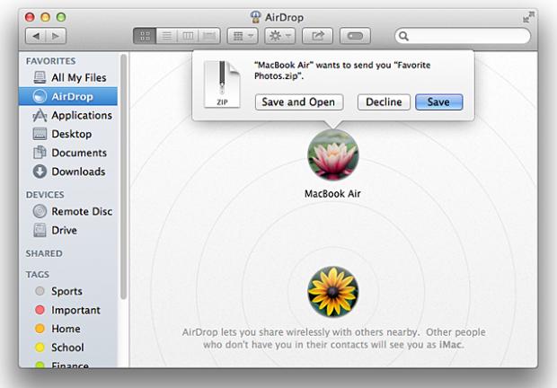 AirDrop Mac OS X