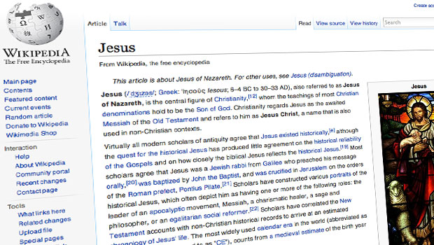 wikipedia artikel over jesus