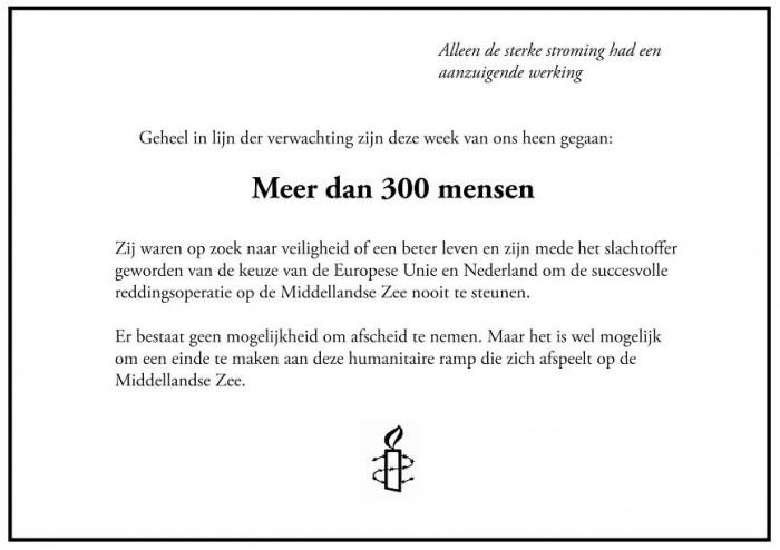 Rouwadvertentie Amnesty Interational