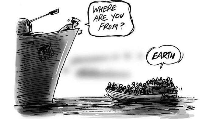 Cartoon bootvluchtelingen