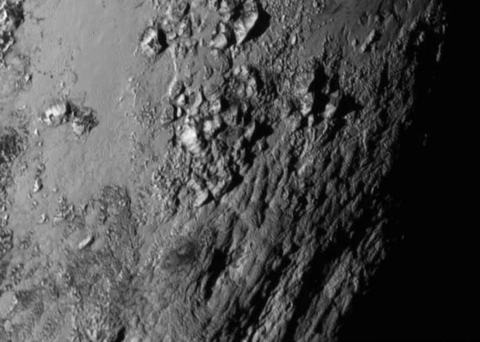 Oppervlakte van Pluto detail opname