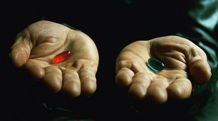 rode of blauwe pil matrix