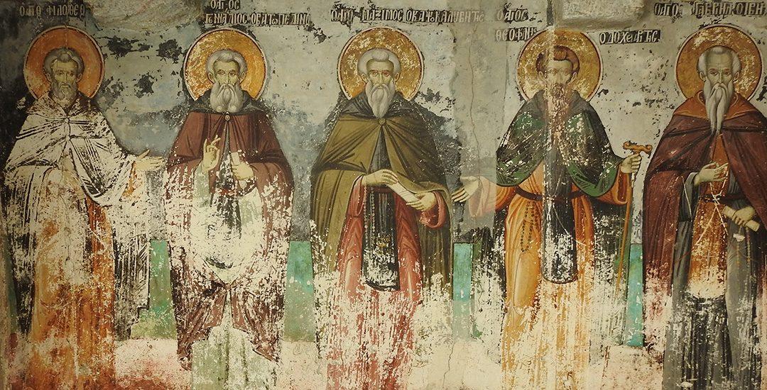Iconen bij de oudste kerk die nog in gebruik is, de kerk in Karyes op Mount Athos