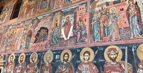 iconen op de buitenmuur van de kerk van het vatopedi klooster (Mount Athos)