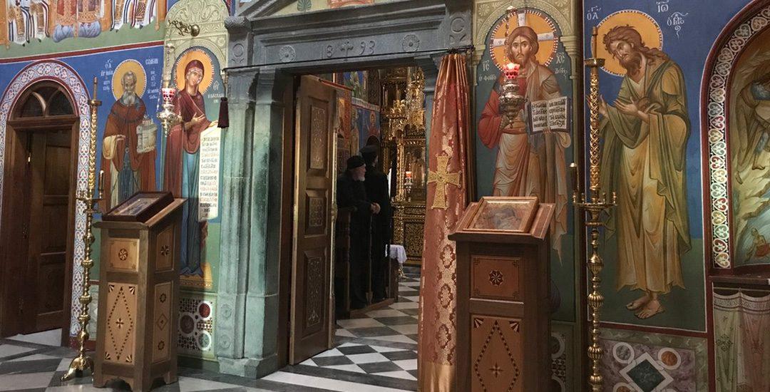 In de kerk van het Simonepetra klooster