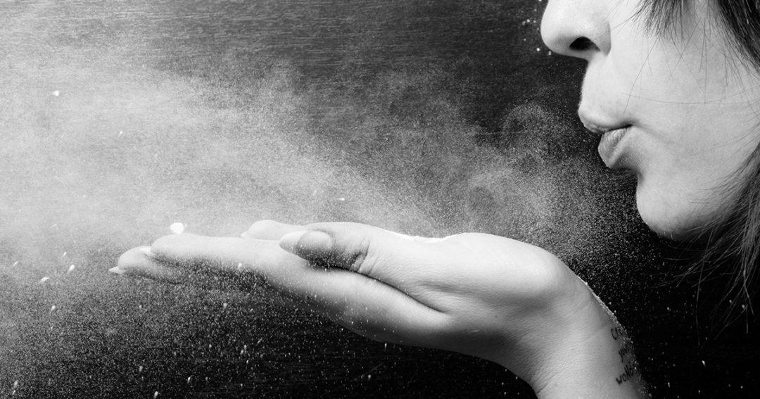 stof weggeblazen