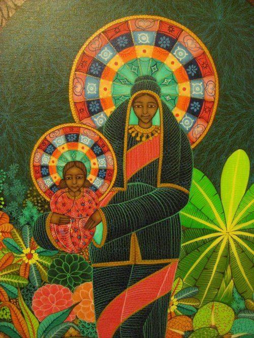 Haïtiaanse Madonna en kind door Ismael Saincilus.