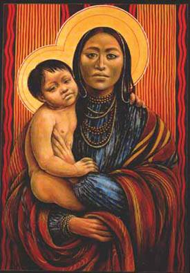 (Noord-Amerikaans) Native American Moeder en Kind