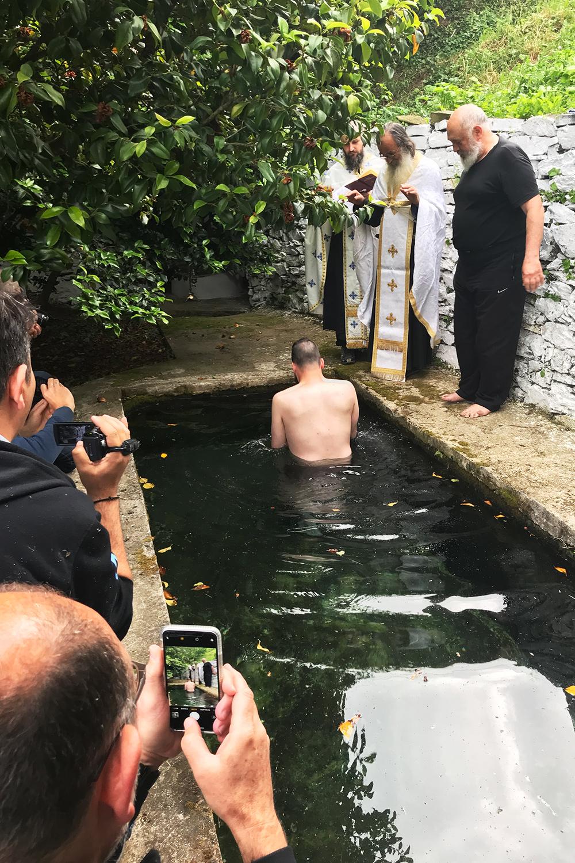 De doop van Thomas in Marouda, Mount Athos