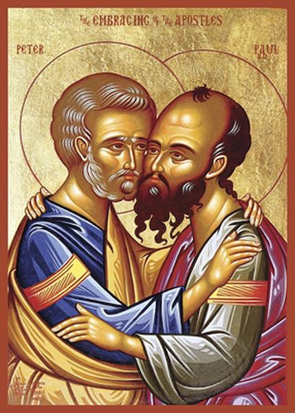 Orthodox Ikoon van de verzoening van Petrus en Paulus