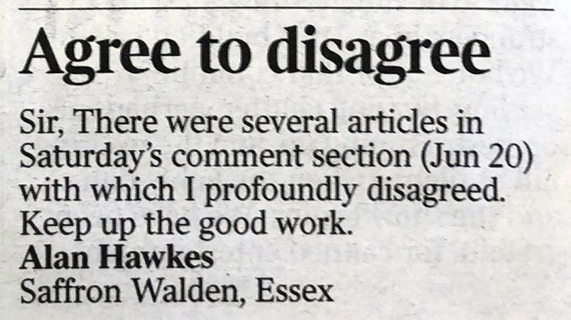 Bericht uit Engelse krant met ingezonden brief.
