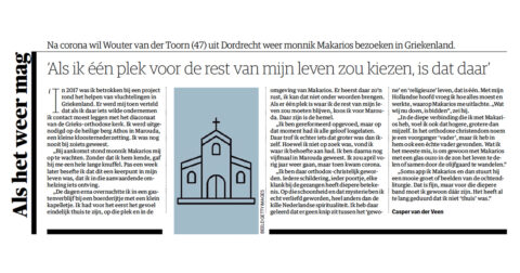 NRC interview met Wouter van der Toorn over de liefde voor Athos en de vriendschap met monnik Makarios