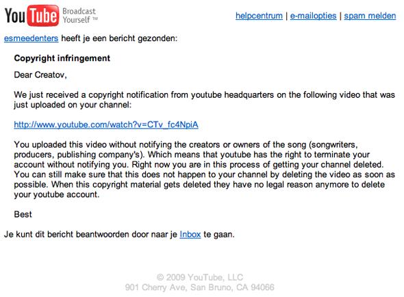 Automatisch emailtje van Esmee Denters via YouTube